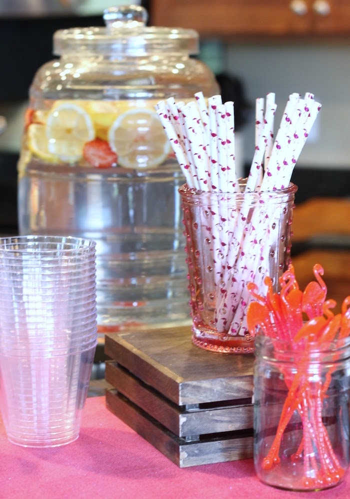 "Beverage table from ""It's Time to Flamingle"" Mother's Day Party on Kara's Party Ideas 