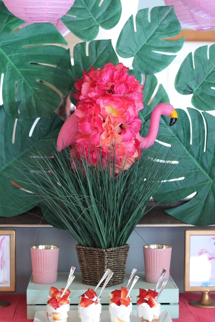 "Flamingo centerpiece from ""It's Time to Flamingle"" Mother's Day Party on Kara's Party Ideas 