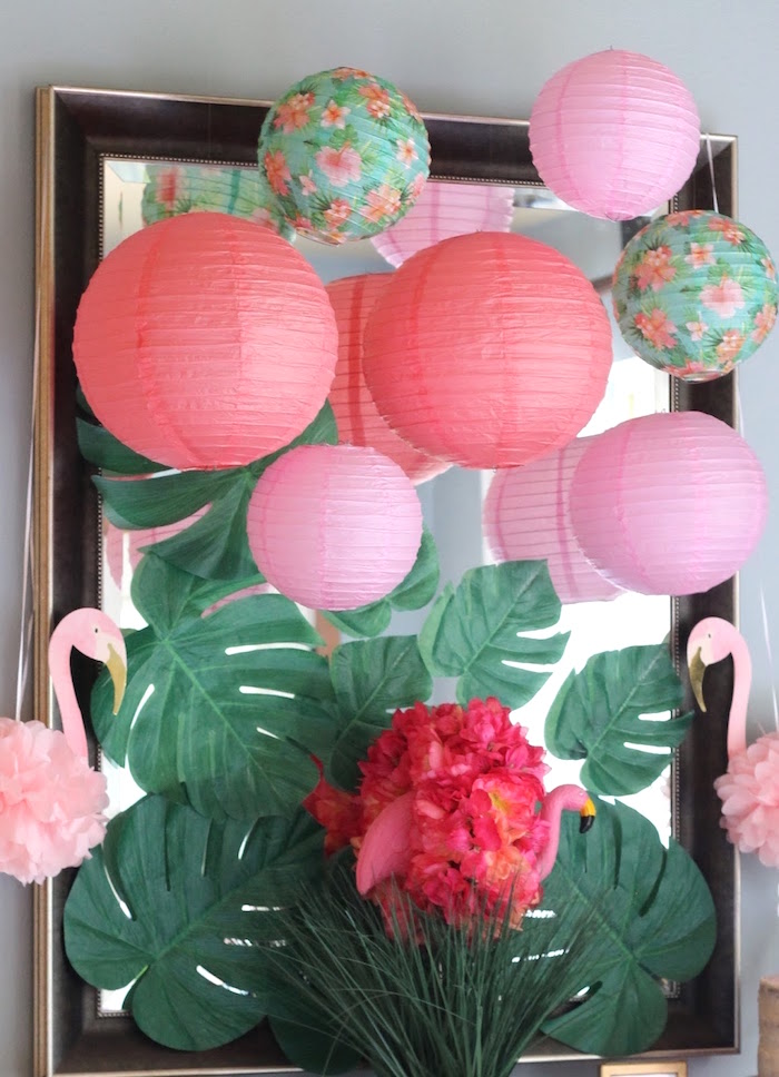 "Palm leaf and honeycomb ball backdrop from ""It's Time to Flamingle"" Mother's Day Party on Kara's Party Ideas 