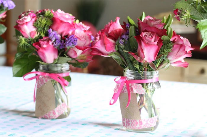 "Floral centerpieces from ""It's Time to Flamingle"" Mother's Day Party on Kara's Party Ideas 