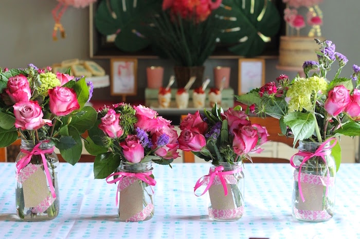 "Flamingo-inspired blooms from ""It's Time to Flamingle"" Mother's Day Party on Kara's Party Ideas 