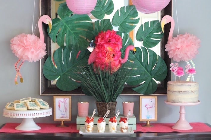 "Flamingo dessert table from ""It's Time to Flamingle"" Mother's Day Party on Kara's Party Ideas 