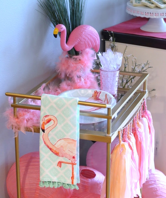 "Flamingo cart from ""It's Time to Flamingle"" Mother's Day Party on Kara's Party Ideas 