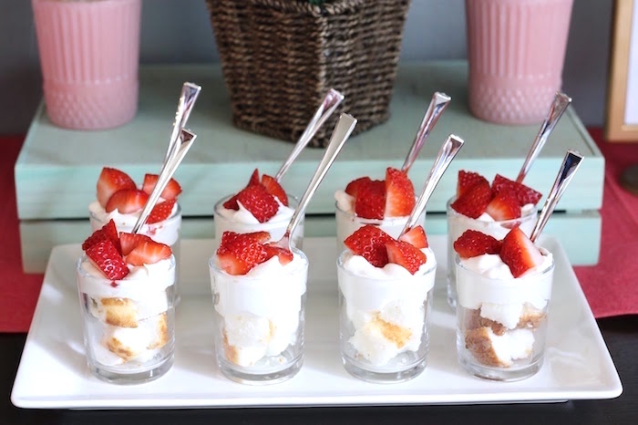 "Strawberry Shortcake Shooters from ""It's Time to Flamingle"" Mother's Day Party on Kara's Party Ideas 