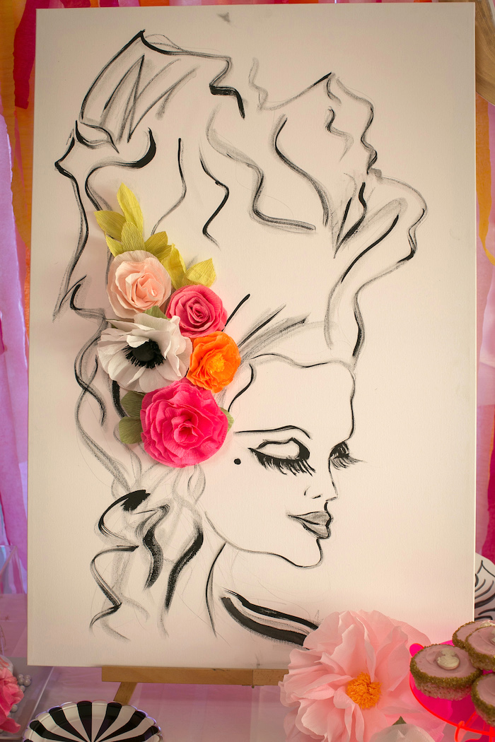 """Marie Antoinette Flower Print from a """"Let Them Eat Cake"""" Birthday Party on Kara's Party Ideas 