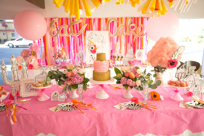"Cake + guest table from a ""Let Them Eat Cake"" Birthday Party on Kara's Party Ideas 