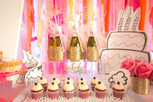 "Cupcakes and drinks from a ""Let Them Eat Cake"" Birthday Party on Kara's Party Ideas 
