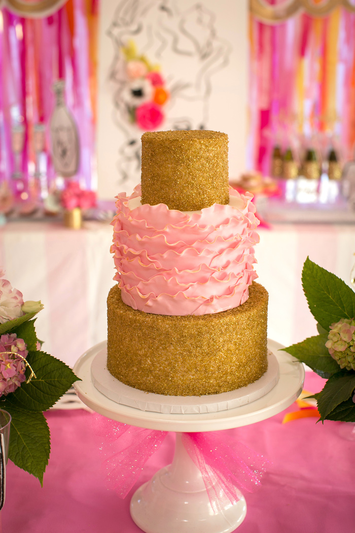 """Glam ruffle cake from a """"Let Them Eat Cake"""" Birthday Party on Kara's Party Ideas 
