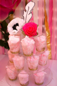 "Cotton candy cups from a ""Let Them Eat Cake"" Birthday Party on Kara's Party Ideas 