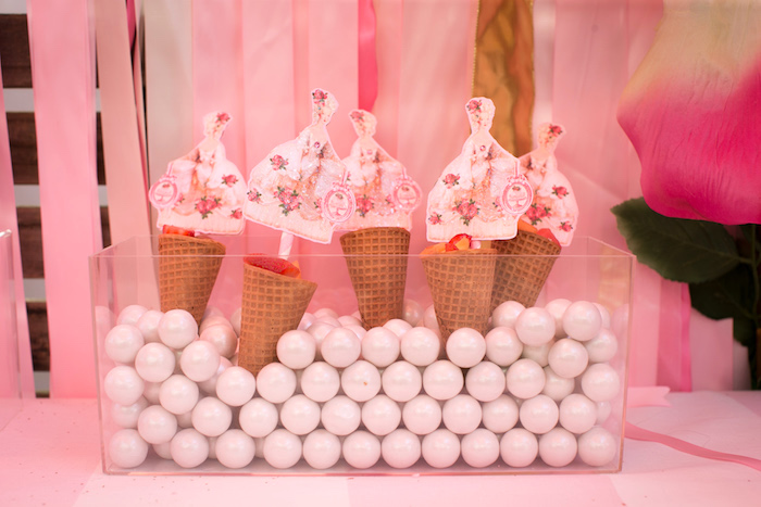 "Marie Antoinette sugar cones from a ""Let Them Eat Cake"" Birthday Party on Kara's Party Ideas 