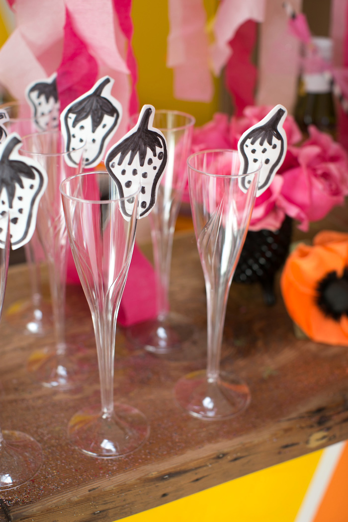 "Drink flutes with paper strawberries from a ""Let Them Eat Cake"" Birthday Party on Kara's Party Ideas 