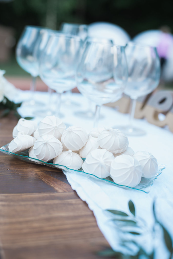 "White meringue kisses from a ""Love Your Tribe"" Ladies Luncheon Party on Kara's Party Ideas 