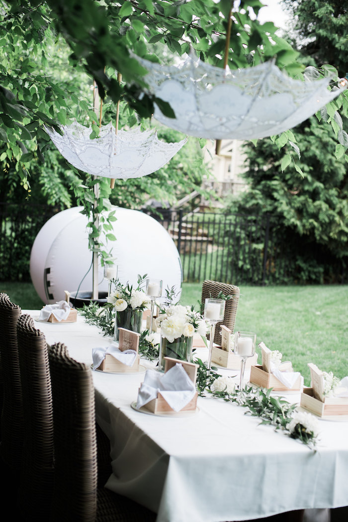 "Garden guest tablescape from a ""Love Your Tribe"" Ladies Luncheon Party on Kara's Party Ideas 