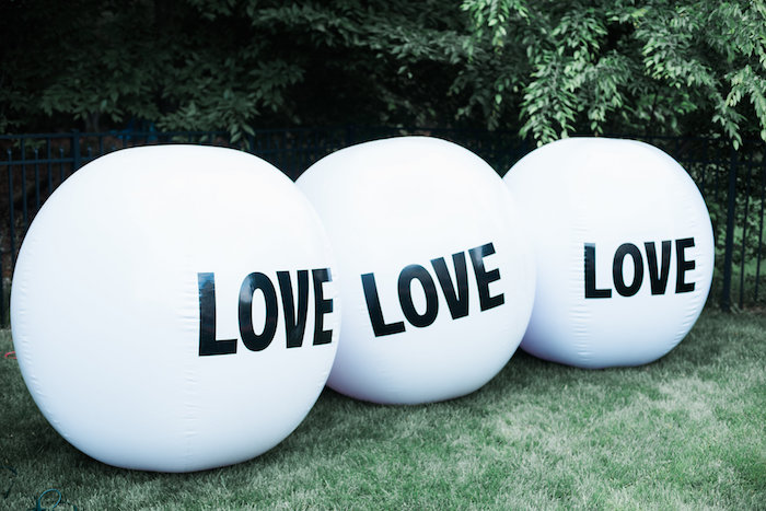 "Inflatable ""Love"" balls from a ""Love Your Tribe"" Ladies Luncheon Party on Kara's Party Ideas 