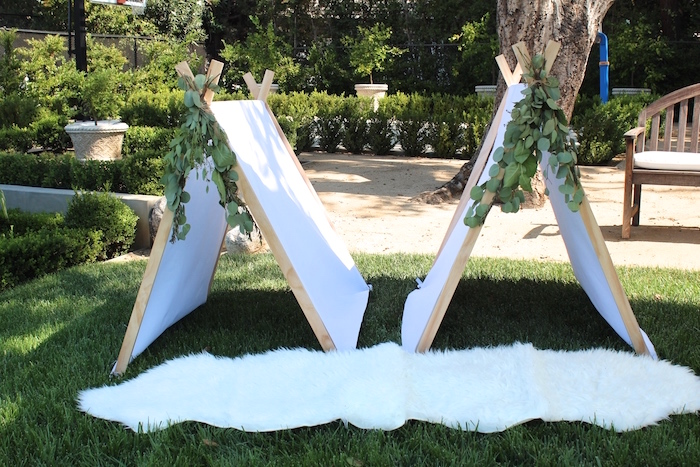 """Tents from a """"One Happy Camper"""" First Birthday Party on Kara's Party Ideas 