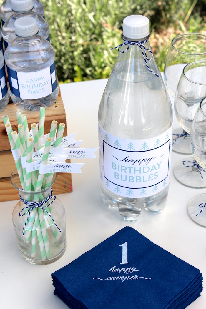 """Green striped paper straws from a """"One Happy Camper"""" First Birthday Party on Kara's Party Ideas 