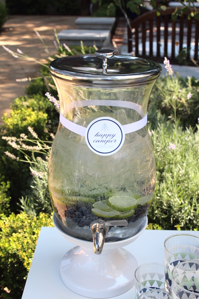 """Beverage dispenser from a """"One Happy Camper"""" First Birthday Party on Kara's Party Ideas 