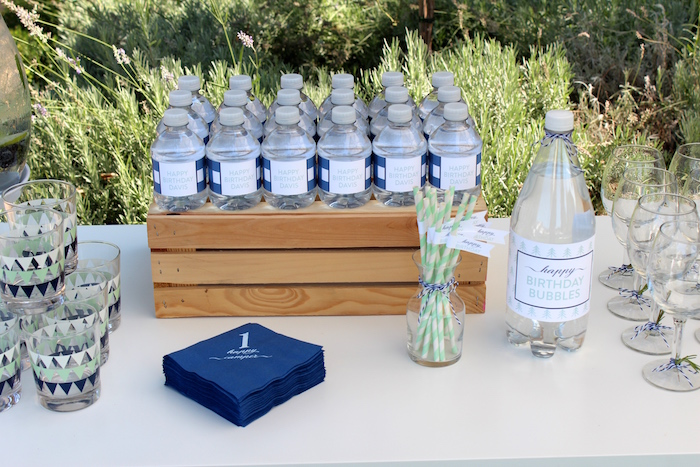 """Beverages from a """"One Happy Camper"""" First Birthday Party on Kara's Party Ideas 