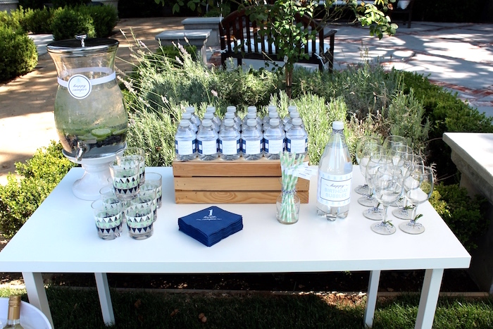 """Beverage table from a """"One Happy Camper"""" First Birthday Party on Kara's Party Ideas 