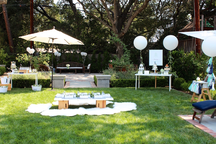 """Full party spread from a """"One Happy Camper"""" First Birthday Party on Kara's Party Ideas 