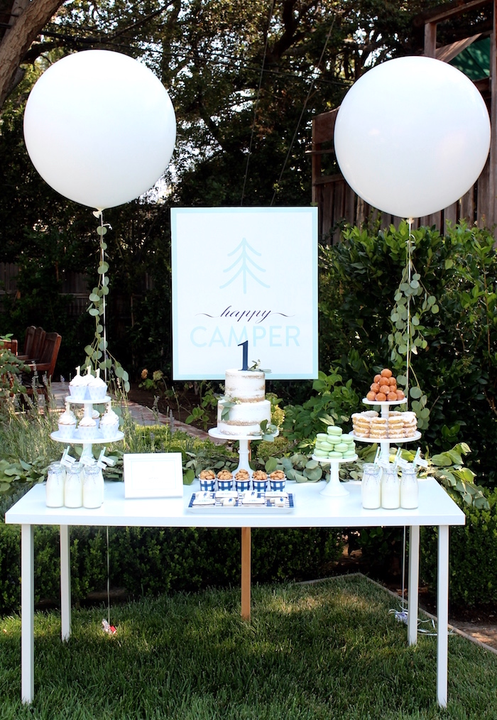"""Sweet table from a """"One Happy Camper"""" First Birthday Party on Kara's Party Ideas 