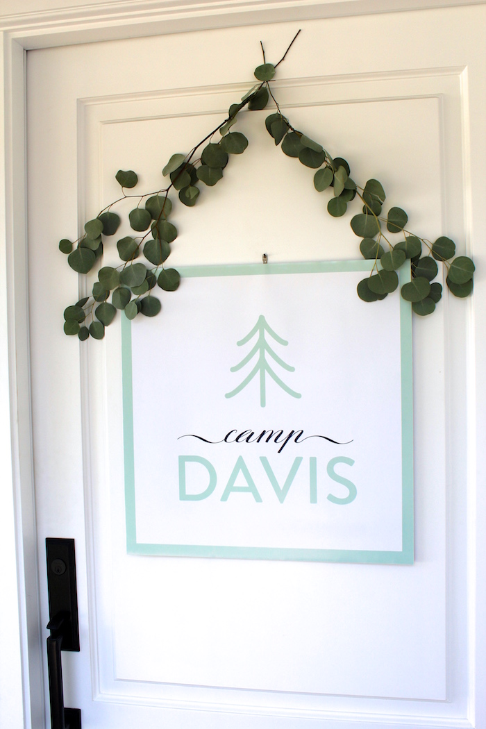 """Custom name party signage from a """"One Happy Camper"""" First Birthday Party on Kara's Party Ideas 