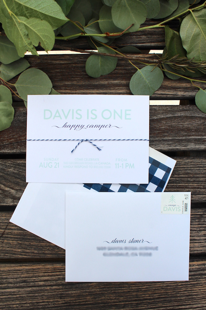 """Party invite + stationery from a """"One Happy Camper"""" First Birthday Party on Kara's Party Ideas 