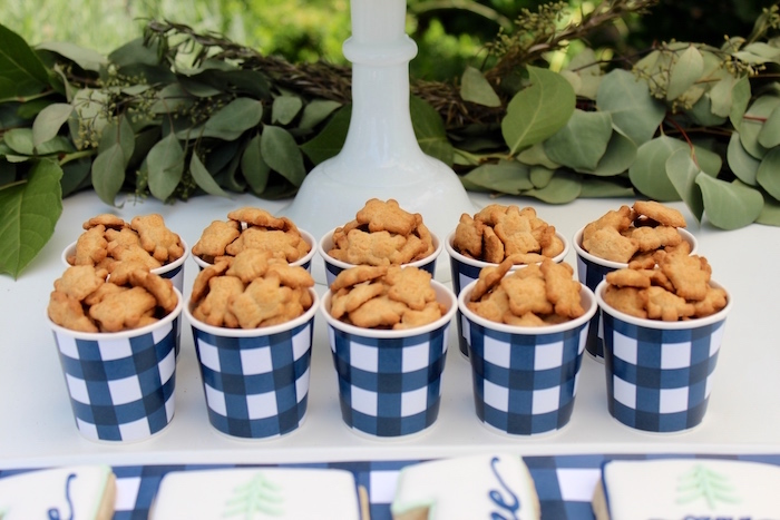 """Teddy Graham cups from a """"One Happy Camper"""" First Birthday Party on Kara's Party Ideas 