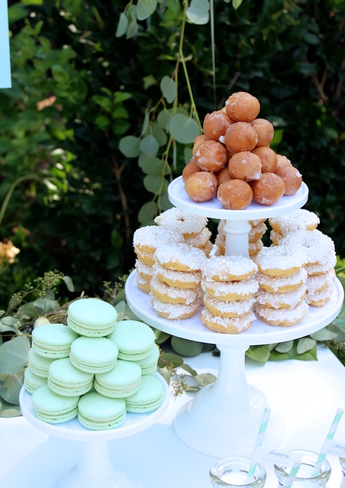 """Macarons & doughnuts from a """"One Happy Camper"""" First Birthday Party on Kara's Party Ideas 