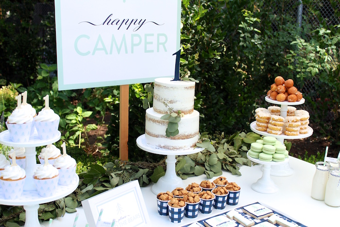 """Dessert table from a """"One Happy Camper"""" First Birthday Party on Kara's Party Ideas 