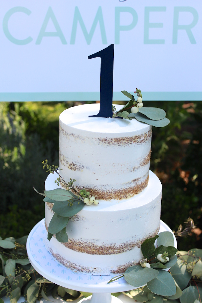 """Semi-naked cake from a""""One Happy Camper"""" First Birthday Party on Kara's Party Ideas 