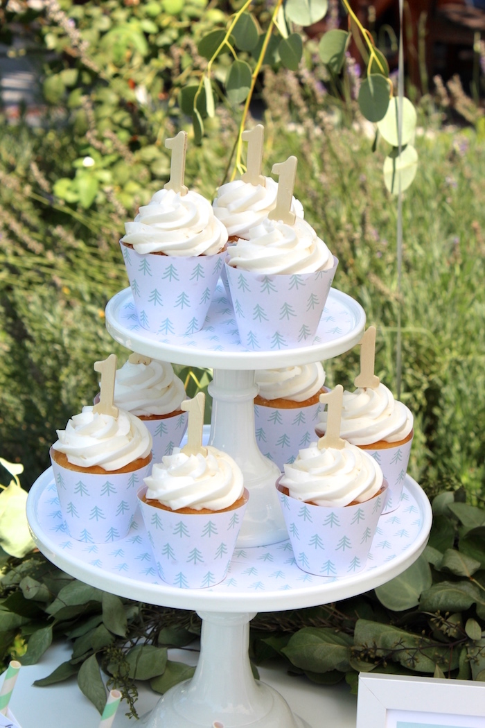 """Cupcakes from a """"One Happy Camper"""" First Birthday Party on Kara's Party Ideas 