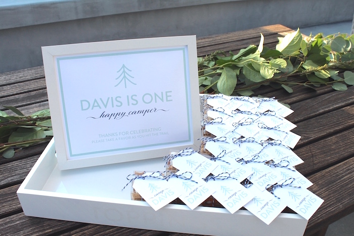 """Favors from a """"One Happy Camper"""" First Birthday Party on Kara's Party Ideas 