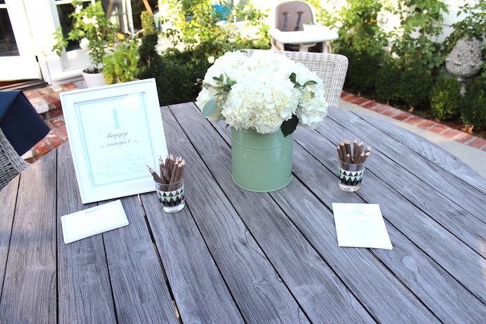 """Table decor + stationery from a """"One Happy Camper"""" First Birthday Party on Kara's Party Ideas 