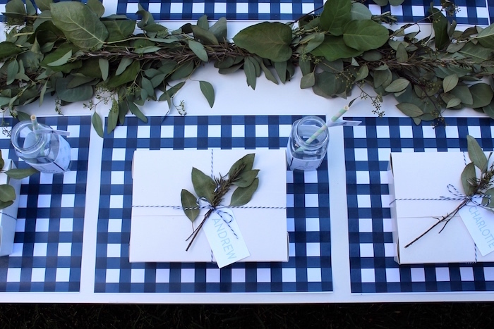 """Place setting from a """"One Happy Camper"""" First Birthday Party on Kara's Party Ideas 