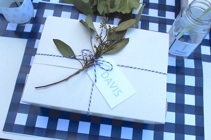 """Kid lunch + dinner box from a """"One Happy Camper"""" First Birthday Party on Kara's Party Ideas 