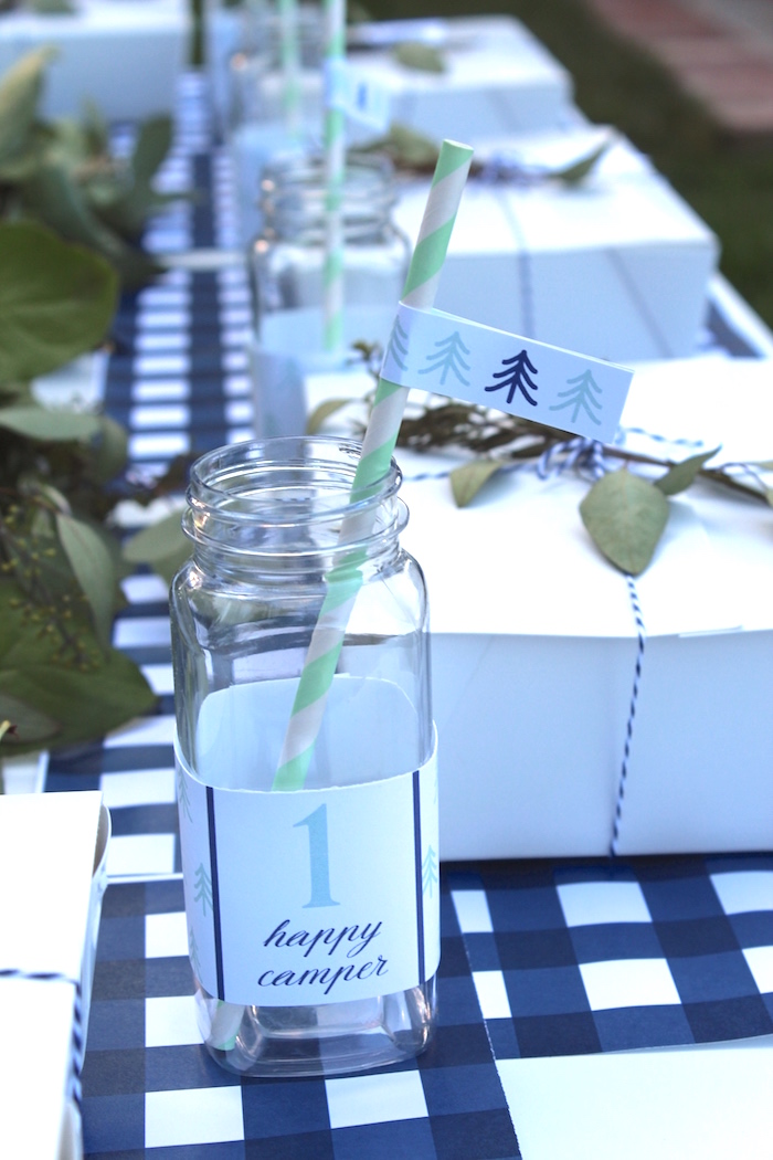 """Plastic milk bottle from a """"One Happy Camper"""" First Birthday Party on Kara's Party Ideas 