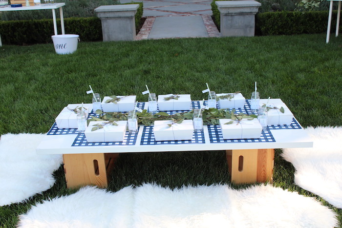 """Kid table from a """"One Happy Camper"""" First Birthday Party on Kara's Party Ideas 
