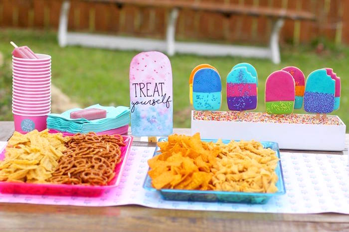 "Treat table from a ""Two Cool"" Popsicle Themed Birthday Party on Kara's Party Ideas 