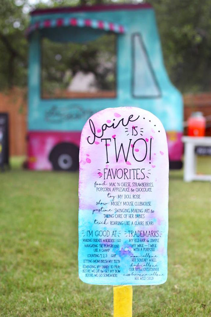 "Popsicle standee signage from a ""Two Cool"" Popsicle Themed Birthday Party on Kara's Party Ideas 