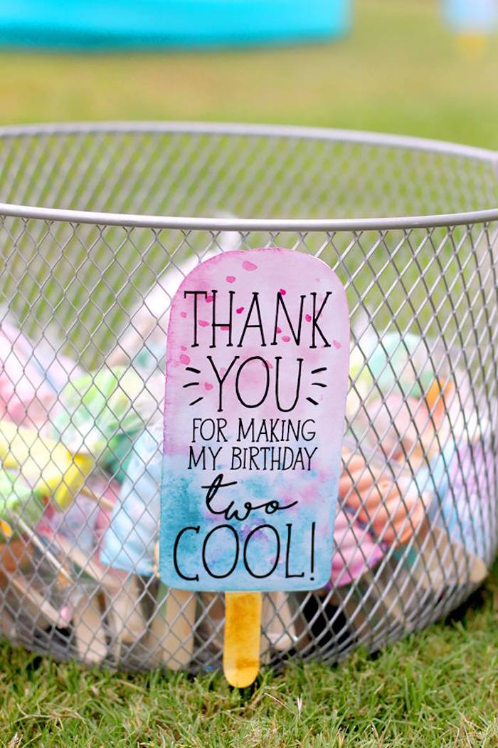 "Popsicle favor signage from a ""Two Cool"" Popsicle Themed Birthday Party on Kara's Party Ideas 