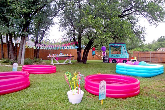 "Activity pools from a ""Two Cool"" Popsicle Themed Birthday Party on Kara's Party Ideas 