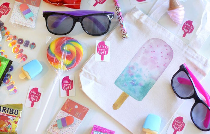 "Popsicle drawstring favor bags from a ""Two Cool"" Popsicle Themed Birthday Party on Kara's Party Ideas 
