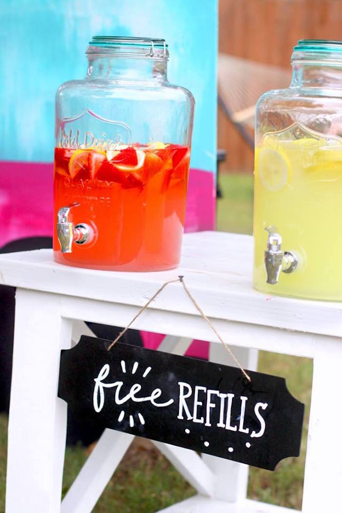 "Beverage stand from a ""Two Cool"" Popsicle Themed Birthday Party on Kara's Party Ideas 