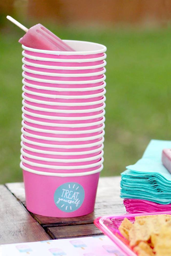 "Pink snack + ice cream cups from a ""Two Cool"" Popsicle Themed Birthday Party on Kara's Party Ideas 