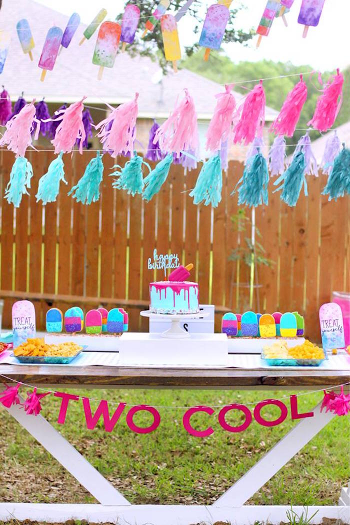 "Cake + Sweet + Snack Table from a ""Two Cool"" Popsicle Themed Birthday Party on Kara's Party Ideas 