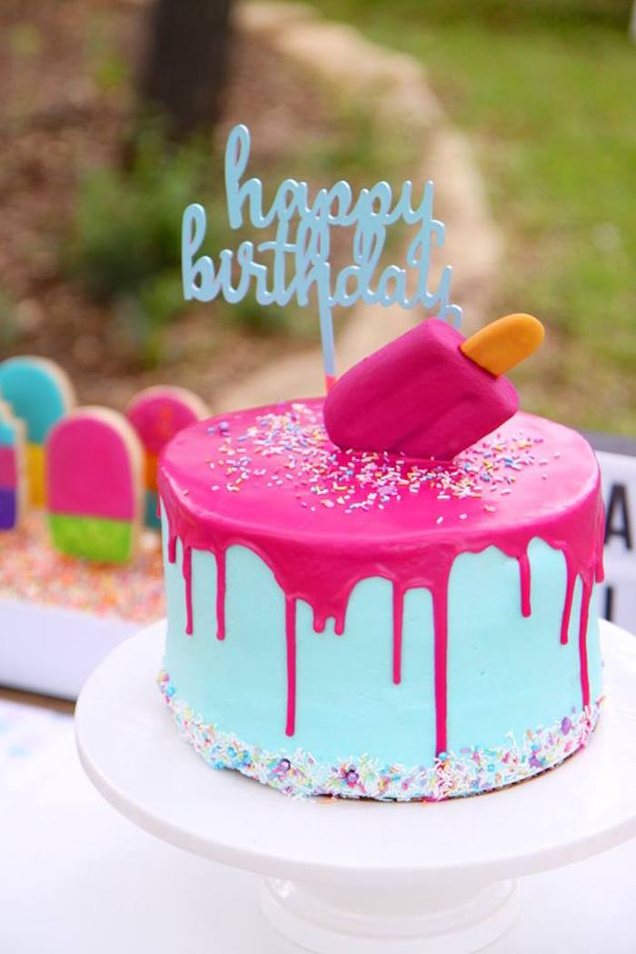 "Popsicle Drip Cake from a ""Two Cool"" Popsicle Themed Birthday Party on Kara's Party Ideas 