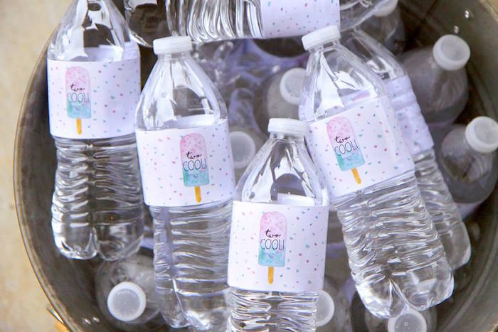 "Popsicle water bottle labels from a ""Two Cool"" Popsicle Themed Birthday Party on Kara's Party Ideas 