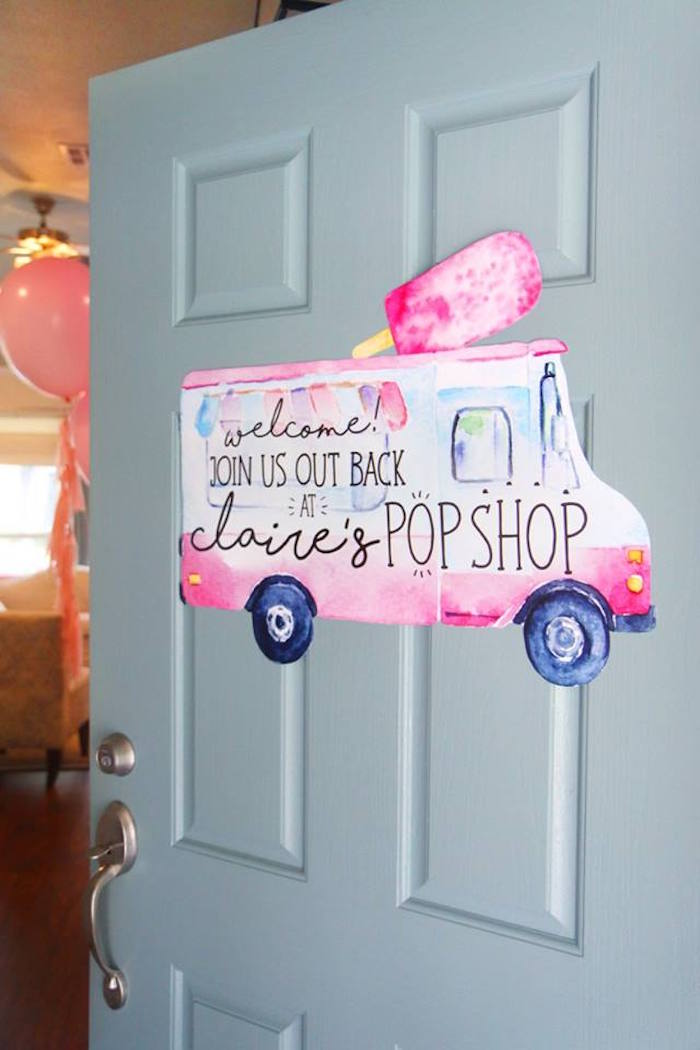 "PopShop welcome sign from a ""Two Cool"" Popsicle Themed Birthday Party on Kara's Party Ideas 