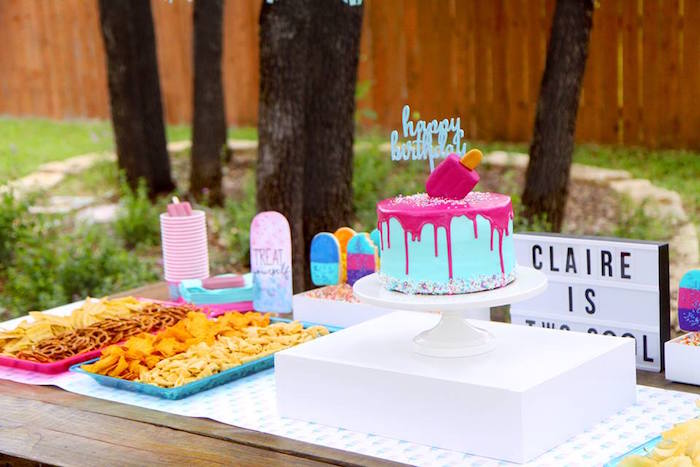 "Cake table from a ""Two Cool"" Popsicle Themed Birthday Party on Kara's Party Ideas 